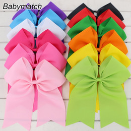 Wholesale Ponytail Holders For Bows - Babymatch 7.5'' Large Ribbon Cheer Bows Boutique Girls Cheerleading Ponytail Holder Elastic Hair Bows Tie For Teens Kids