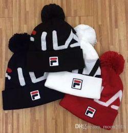 2018 новые унисекс Осень Зима мужчины Марка FILA F вязаная шляпа мода шапочки gorro женщины теплый повседневная лыжный череп POM POM caps гитарные ремни от