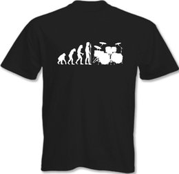 Drum para la venta online-Evolution Of Drumming - Hombres Camiseta divertida Batería Batería Batería Kit 2018 New Summer Men Hot Sale Fashion