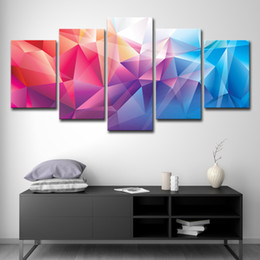 peça de lona colorida abstrata Desconto Canvas Wall Art Pictures Home Decor 5 Peça Polígono Colorido Forma Abstrata Design Pinturas Sala de estar Imprime Poster