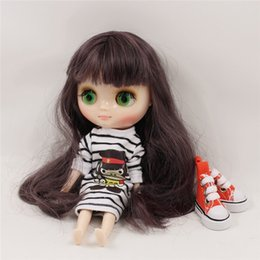 Wholesale Nude Toys - Fortune Days Nude Factory Middle Blyth doll Dark purple long hair with bangs suitable for change toy white skin Neo