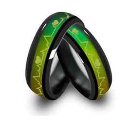Unisex versprechen ringe online-Titan Schwarz Stimmung Ringe Temperatur Emotion Gefühl Verlobungsringe Für Frauen Männer Schmuck Versprechen Ringe Paare 10 STÜCKE Weihnachtsgeschenk
