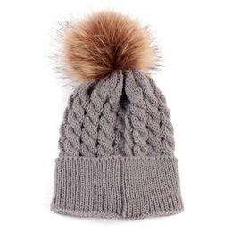 Wholesale football beanie baby - Baby Knitted Warm Hats Autumn Winter Crochet Woolen Hat Fur Pompons Kid Beanie Boy Girl Cute PomPom Tick Cap Bonnet Gorro