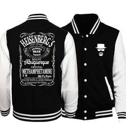 heisenberg hoodie UK - Breaking Bad Heisenberg Plus Size Men Jacket 2018 Spring Hot Sale Baseball Jackets Men Coat Fashion Hoodies Men Sportwear S-5XL D18101001