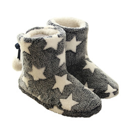 Wholesale cute plush patterns - Cute Star Pattern Winter Women Warm Home Slippers For Indoor House Bedroom Thick Plush Floor Shoes Pantufa