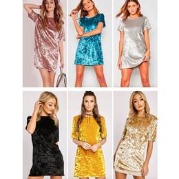Wholesale loose velvet dress - New Fashion Casual Summer Women Dress Loose Solid Short Sleeve Velvet Dress Sexy Party Mini Dresses Robe Vestidos De Fiesta