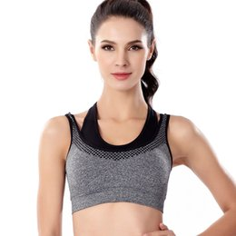 9743f79cd1006 Professional Quick Dry Sport Bra Fake Two-pieces Padded Push Up Wirefree  Shockproof Running Fitness Yoga Sports Brassiere Top