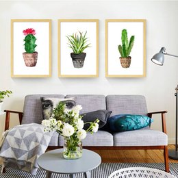 Wholesale Simple Abstract Paintings Canvas - Simple Cactus green plant Canvas Prints Cartoon Painting Bedroom Wall Stickers Canvas Art Painting Posters Modern paintings