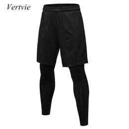 Canada vertvie Deux pièces Compression Pants Hommes Shorts + Leggings Sportswear Gym Fitness Collants Sports Pantalon Pantalon de course respirant cheap compression pants xl Offre