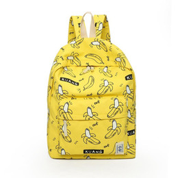 Wholesale Backpack Unique - Wholesale- TOURIT Cute Girl Banana Pattern Printing Women Backpacks Traveling Pratical School Bags Unique Fashion Canvas Backpack