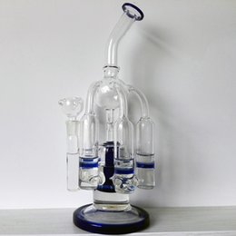 Wholesale Two Function Honeycomb Glass Percolator - Glass bongs 5-Cycler Filter Glass Pipe Beaker Two Function Smoking Water Bong 12 Inches Glass Bong With 14.4mm Joint Honeycomb Percolators