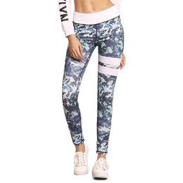 pantalón estampado digital Rebajas Pantalones deportivos de la aptitud de la impresión digital ocasional de los deportes leggings estiramiento fino pies delgados pantalones de las mujeres envío libre