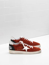 Wholesale Brand Tab - Italy Brand Shoes Genuine Leather BALL STAR Sneakers G31MS592.F2 Calf Suede Upper Shiny Leather Star Leather Heel Tab