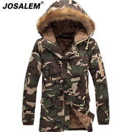 Wholesale Military Fur Coat Men - Fashion Mens Winter Camouflage Long Parka With Fur Hood Man Military Coat Thick Warm Cotton-padded Jacket Outerwear Plus Size