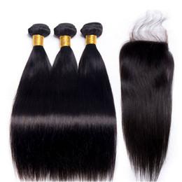 2019 итальянский человеческий волос 22 дюйма 10 класс бразильские человеческие волосы три пучка с кружевом закрытие 4 * 4 дюймов натуральный цвет девственные волосы горячая распродажа