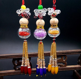 Wholesale Crystal Decoration Products - Creative Crystal gourd Car Perfume Pendant Empty Bottle Rear View Mirror Hanging Car Decoration Products
