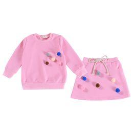 2019 equipamento coreano do bebê do estilo Estilo coreano 2 pcs Meninas Conjunto de Roupas de Manga Longa Do Bebê Meninas T Saia Set Pom Fashion Girls Outfit equipamento coreano do bebê do estilo barato
