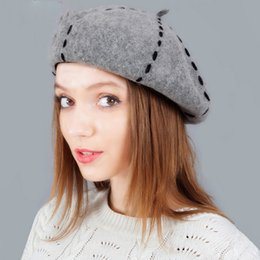 Winter Warm Hats For Girls 100% Wool Beret Hat For Women Solid Color Female Felt  French Beret Beanie Hat New Year Gift b50797f478be