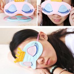 Wholesale Sleep Mask Cartoon Eyes - Crown Eye Blinder Winker Sleep Mask Padded Eyeshade Rest Relax for sleep eye cover Travel Cartoon Long Eyelashes DDA342