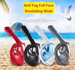Wholesale Snorkel Tube - 2018 Wholesale Anti Fog Full Face Snorkeling Mask Diving Snorkel 2 In 1 For 180 Degree Dry Easy Free Breath Dive Gear Tube