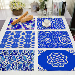 Wholesale Traditional Chinese Porcelain - Blue And White Porcelain Placemat Insulation Non-Slip Dining Table Mat Bowl Tableware Pad Coaster Kitchen Accessories ZA6560
