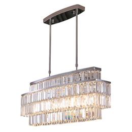 Kronleuchter kristall rechteck anhänger online-Moderne Kristall-Leuchter-Rechteck-Leuchter-Beleuchtungs-Befestigungen Luxuriöse geführte hängende Beleuchtungs-Befestigungen für Esszimmer