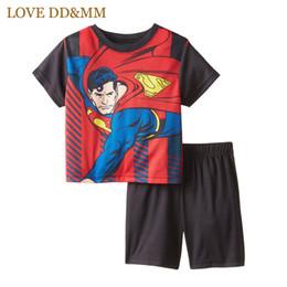 Wholesale superman batman t shirt - Children Clothing 2018 Cartoon Cotton Candy Star Boys T-shirts + Pants = Sets Kids Superman Batman Suits Clothes