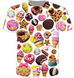 Nova Moda 3D Camisetas de Impressão Homens / Mulheres Unisex sorvete Donut Engraçado Casual Tee Top Atacado QA179 de