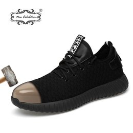 Новая выставка мужская мода защитная обувь дышащий летающий тканые анти-разбив стальной toe caps анти-пирсинг волокна мужская рабочая обувь от