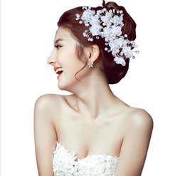 Wholesale Cross Ornaments - 2018 water drill U type crystal pearl ornaments wedding headwear