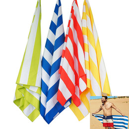 Wholesale travel blankets wholesale - Microfiber Stripe Beach Towel Soft Pouch Quick Dry Towel For Travel Sand Beach Lightweight Towel For Camping Beach Blanket Gifts HH7-452