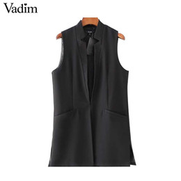 Wholesale White Waistcoat Women - Vadim women basic white black long vest coat side split pocket waistcoat sleeveless ladies jacket outwear casual tops MJ111