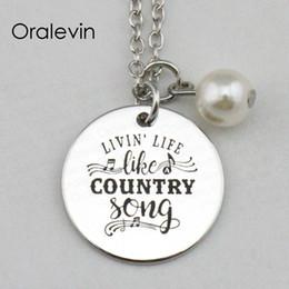 LIVIN 'LIFE LIKE COUNTRY SONG Estampado a mano grabado Grabado personalizado Collar colgante, Joyas de regalo, 18 pulgadas, 22 mm, 10 piezas / lote, # LN2331 desde fabricantes