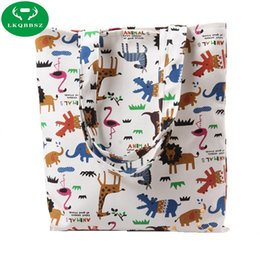 Wholesale Canvas Shoe Bags Wholesale - Animal print 100% cotton canvas dust cloth bag Clothes socks underwear shoes receive bag home Sundry kids toy storage bags