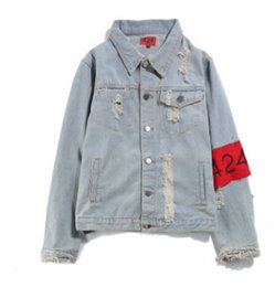 Wholesale Dress Jean Women - New Holes Armband Hip Hop Denim Jean Jackets Men Women Fashion Bomber Man Jacket Men's Windbreaker Streetwear Couples Dress