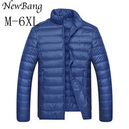Wholesale Men Navy Parka - Plus Size 5XL 6XL Ultra light Down Jacket Men Feather Man Jackets Lightweight Overcoat With Carry Bag Black Navy Parkas