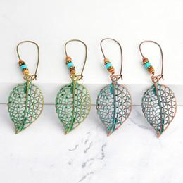 orecchini blu foglie Sconti orecchino blu retro orecchino per le donne tallone coreano Hollow semplice orecchino maxi dichiarazione moda stud per le donne drop ship