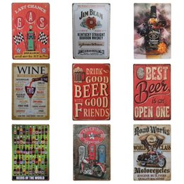 Wholesale Vintage Beer Signs - Drinking Beer Vintage Pin Poster European Style Unique Tins Sign For Bar KTV Hang Create Atmosphere Iron Painting Hot Sale 20*30cm Z