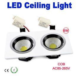 Wholesale Fixture Cover - Double Lights 6w led lighting Square LED Ceiling Light COB fixture lamp bulb wedding 85~265V White shell Cover CE RoHS x 10pcs