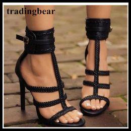 sandalias de tejer Rebajas Negro hebilla de la manera que hace punto trenzado con tiras T zapatos de mujer de tacón alto sandalias gladiador Tamaño 35 a 40