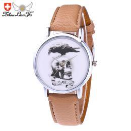 Wholesale Watch Woman Leather Skull - Men Women Quartz Watch Fashion Hallowmas Skull Pattern Leather Band Analog Wristwatch Round Case Dress Watches relogio 2017