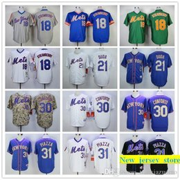 2019 fragole bianche 2019 Mens Mets 18 Darryl Strawberry 21 Lucas Duda 31 Mike Piazza 100% maglie da baseball cucite colore blu verde grigio camo bianco Taglia: S-XXXL fragole bianche economici