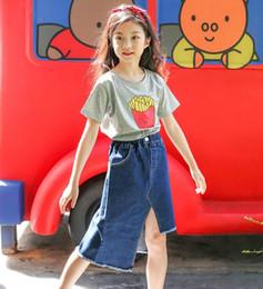 Wholesale New Skirts Denim Fashion - 2018 Spring Summer New Girl Skirts Tassel denim Skirts Fashion Irregular skirt Children Clothes s82#