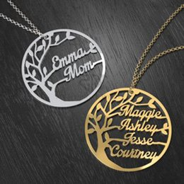 Wholesale Christmas Keepsakes - Custom Family Tree Cutout Name Necklace Stainless Steel Gold Color Personalized Family Names Branches Family Keepsake Mothe's Necklace
