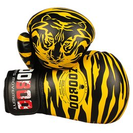 fighting training gear Promo Codes - 10Oz Zooboo Pu Leather Tiger Print Boxing Gloves Mma Twins Fighting Punching Gloves Kick Muay Thai Gym Training Boxing Gear