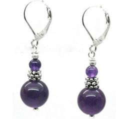 Wholesale Earring Leverback - new Natural purple Amethyst W. Gemstone 925terling Silver Leverback Earrings 10mm