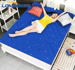Wholesale Mattress Cool - low power electric cooled mattress 160cm X 140cm cooling pad blue color with Negative Ion 12 volt cooling fans