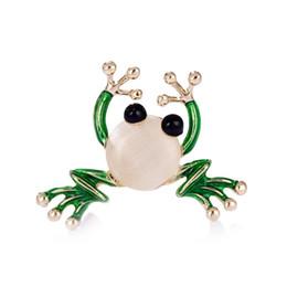 Wholesale Kawaii Rhinestones - Green Enamel Cartoon Frog Brooch for Women Cute Kawaii Frog corsage accessories Brand Rhinestone Brooches