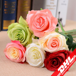 Wholesale Wreath Display - Artificial Flower Rose Artificial Bouquet Real Touch Flowers For Home Wedding Decoration Fake Flowers Wreaths Holiday decorations