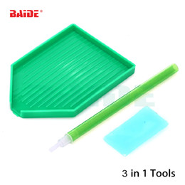 Wholesale paint trays - DIY Needlework Mosaic Diamond Painting Steel Plastic Glue Mud+pen+Tray Diamond Painting Tool Kit Stick Drilling Tool 100pcs